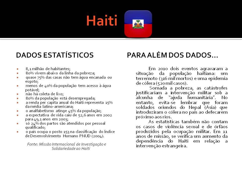Para além dos dados oficiais: 11 Anos da Missão da ONU no Haiti